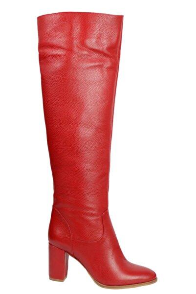 OZ DOROTHY Kadın Kırmızı Hakiki Deri Flotur  Çizme