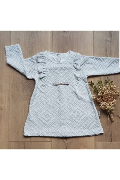 Flexi Kız Bebek Krem İnci Detaylı Elbise