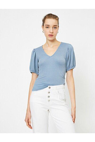 Koton Kadın Mavi V Yaka Kısa Kollu Tişört