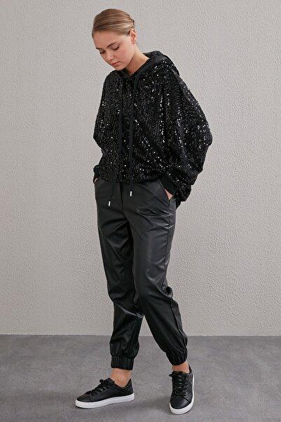 Kayra Kadın Beli Lastikli Spor Kesim Deri Pantolon Siyah A20 19115