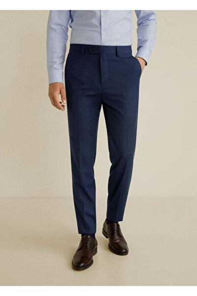 MANGO Man Erkek Lacivert Dar Kesimli Takım Pantolon  67120506