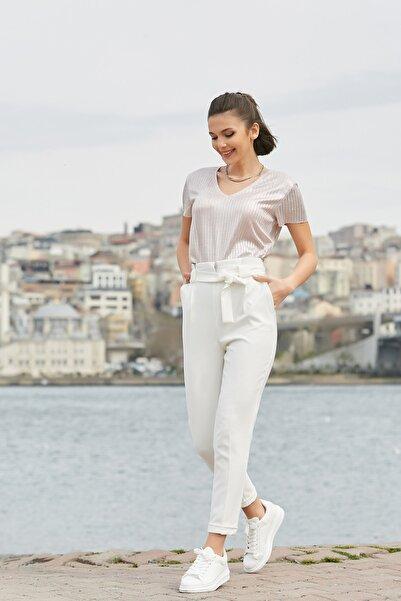 Sateen Kadın Ekru Kuşaklı Yüksek Bel Pantolon