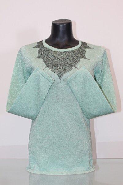 Pierre Cardin Kadın Su Yeşili Yakası Işlemeli Bluz