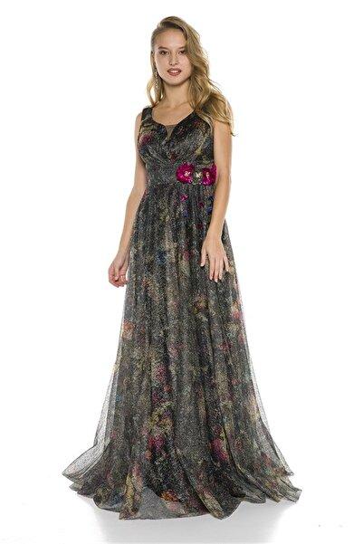 Abiye Sarayı Kadın  Beli Çiçek Detaylı Tül Uzun Abiye Elbise