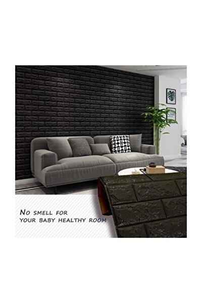 Renkli Duvarlar Nw06 Kendinden Yapışkanlı Esnek Siyah Tuğla Sünger Duvar Paneli 70x77 Cm 1 Adet 4mm