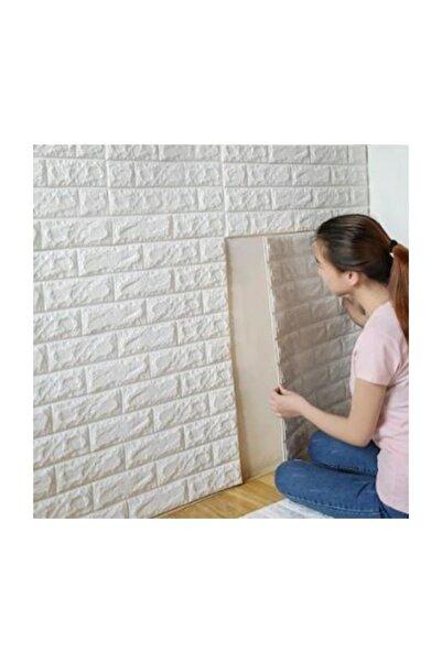 Renkli Duvarlar Nw01 Kendinden Yapışkanlı 70x77 Cm 4,5mm Sünger Beyaz Tuğla Duvar Kağıdı Paneli