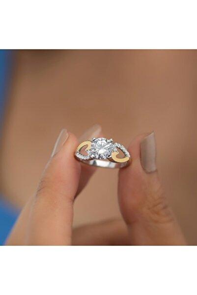 Gümüş Pazarım Kalp Figürlü Altın Kaplama Tektaş Gümüş Yüzük