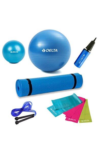 Delta 6'lı Evde Pilates Seti Pilates Matı Pilates Topu Pompası