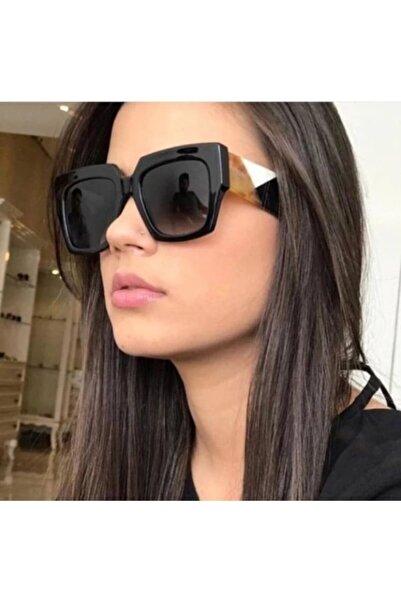 Kinary Güneş Gözlüğü Kare Modeli Siyah Cam Desenli Fendi Modeli Güneş Gözlüğü Kaliteli Ürün