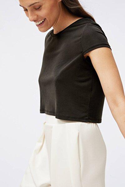 Oysho Kadın Siyah Modal Crop Tişört