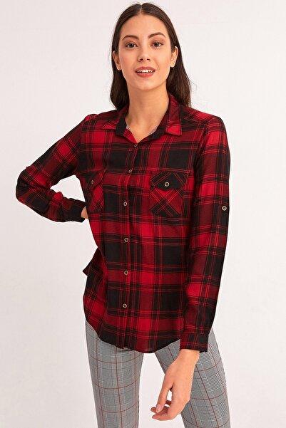 Fulla Moda Kadın Ekose Gömlek