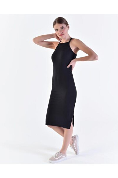 Vision Kadın Siyah Ince Askılı Elbise