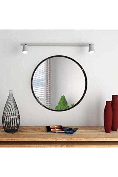 bluecape Yuvarlak Siyah Mermer Desenli Duvar Salon Ofis Aynası 45cm