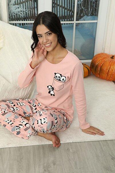 Siyah İnci Nakışlı Interlok Pijama Takımı