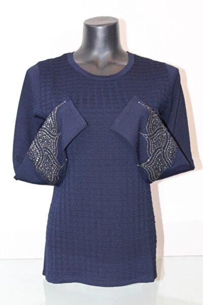 Pierre Cardin Kadın Lacivert Kol Detaylı Bluz