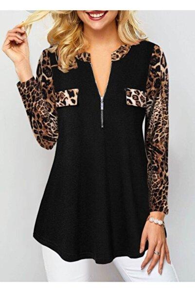 JANES Kadın Siyah Leopar Detay Viskon Kumaş Fermuarlı Bluz