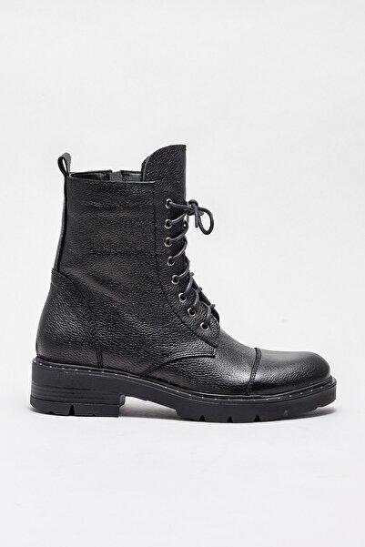 Elle Shoes SHEVON Hakiki Deri Siyah Kadın Bot
