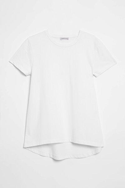 GRIMELANGE Samantha Kadın Zebra Desenli Comfort Fit Arkası Uzun T-shirt Beyaz
