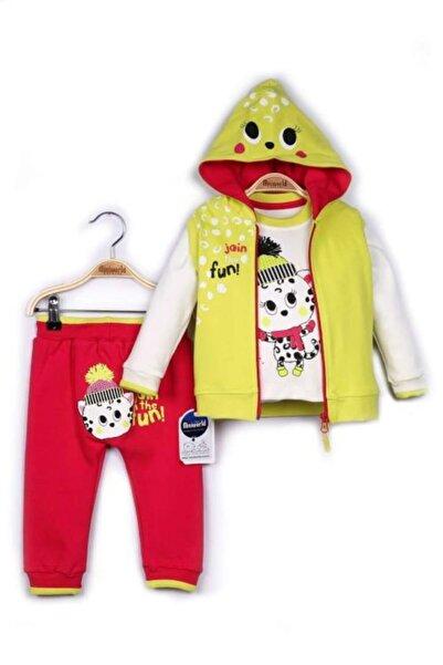 Miniworld Kız Bebek Sarı Hırka Sweatshirt Pantolon 3lü Takım Z0810