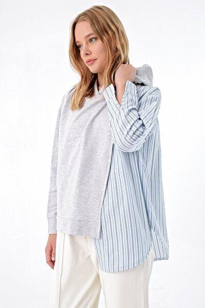 Trend Alaçatı Stili Kadın Mavi Poplın Garnili Kapşonlu Sweatshırt MDA-1035