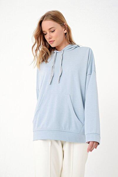 Trend Alaçatı Stili Kadın Mavi İçi Şardonlu Kanguru Cepli Kapşonlu Sweatshırt ALC-X4976