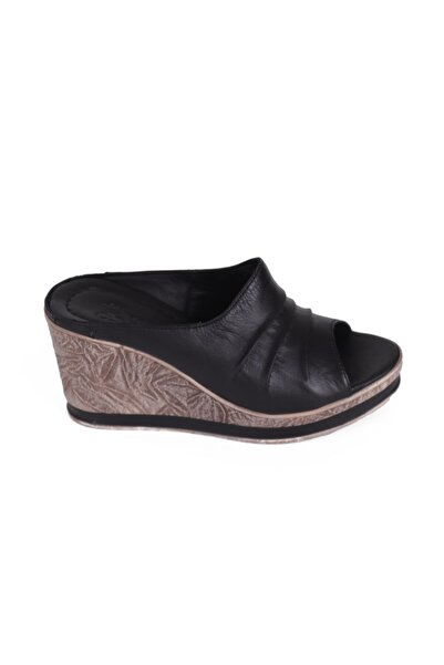 Venüs Siyah Dolgu Topuk Kadın Sandalet 2015702