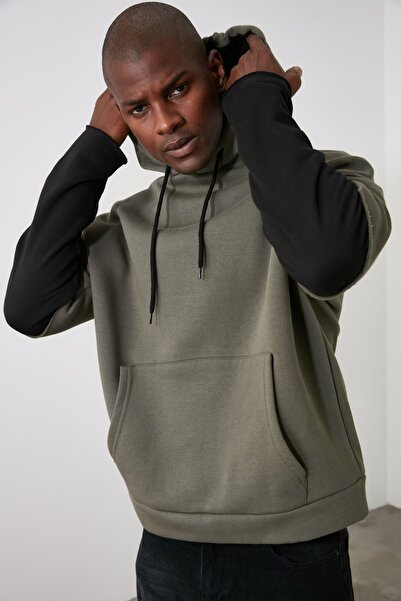 TRENDYOL MAN Yeşil Erkek Uzun Kollu Kapüşonlu Oversize Sweatshirt TMNAW20SW0664