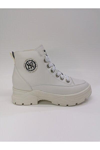 Guja Kadın Kalın Taban Beyaz Boğazlı Taşlı Sneaker