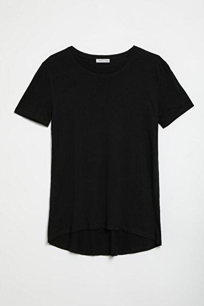 GRIMELANGE Samantha Kadın Zebra Desenli Comfort Fit Arkası Uzun T-shirt Siyah