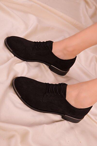 SOHO Siyah Süet Kadın Casual Ayakkabı 15248