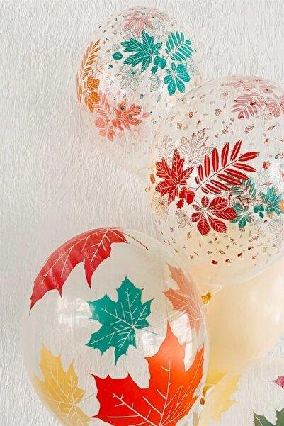 Partifabrik Yaprak Şekilli Floral Şeffaf Balon 10 Lu