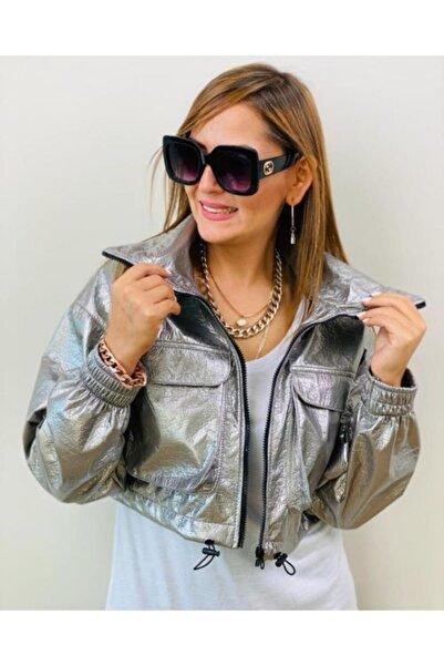 Fivi Butik Kadın Metalik Parlak Torba Cep Ceket