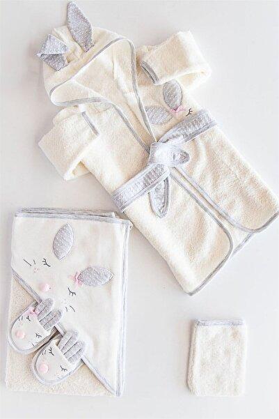 Gaye Bebe 834 Kız Bebek Beyaz  Pamuklu Havlu Bornoz Takımı