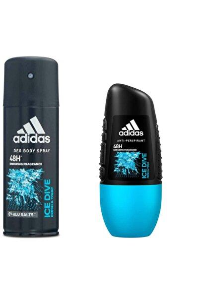 adidas Ice Dive Deodorant 150 Ml + Roll On 50 Ml Set
