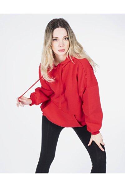 Vision Kadın Kırmızı Kapüşonlu Sweatshirt
