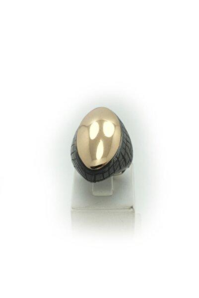 Bridalaischa Alt Gümüş Üst Oval Parlak Bronz Otantik Gümüş Yüzük