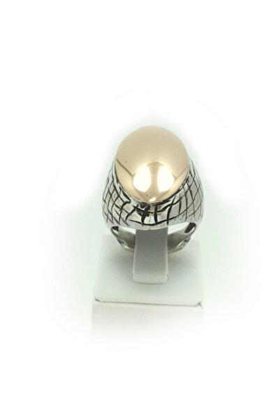 Bridalaischa Sade Kollu Gümüş Üstü Bronz Otantik Gümüş Yüzük