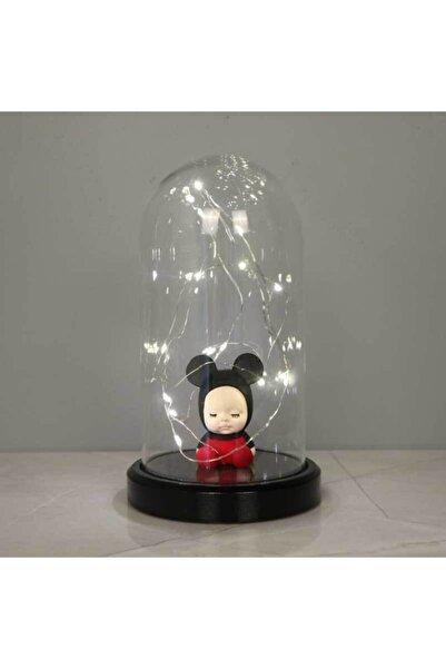 BY-LAMP Işıklı Cam Fanus Mickey Bebek Figürlü Lamba