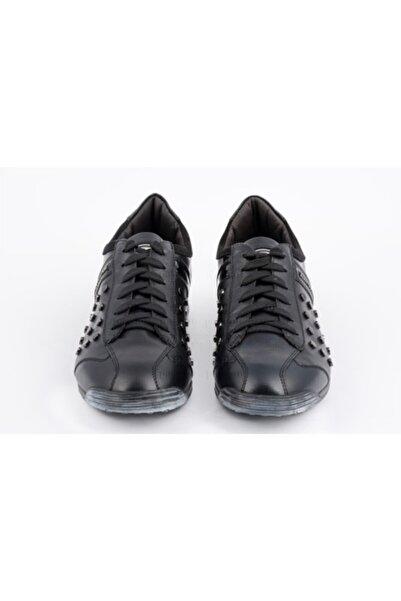 ALBERTO GUARDIANI Erkek Siyah Deri Sneaker