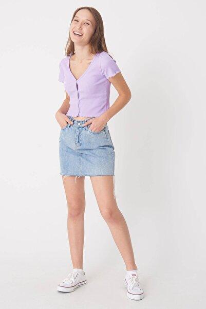 Addax Kadın Lila Düğme Detaylı Bluz P0753 - E11 ADX-0000020818