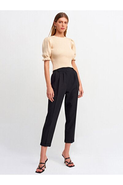 Dilvin Kadın Siyah Duble Paça Detaylı Pilili Pantolon