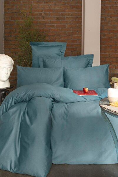 İssimo Home Simply Mavi Saten Nevresim Takımı Aile Seti
