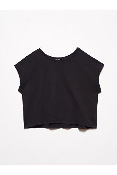 Dilvin Kadın Siyah Geniş Kol Kısa T-Shirt