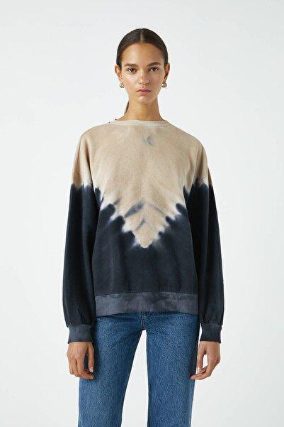 Pull & Bear Kadın Renkli Gölgeli Batik Sweatshirt 09594345