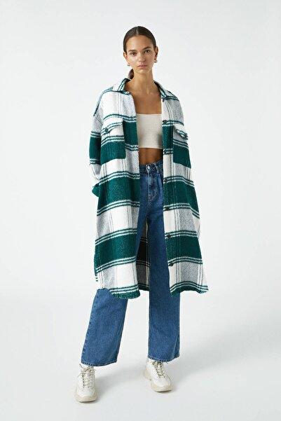 Pull & Bear Kadın Yeşil Ekstra Uzun Kareli Gömlek 09470374