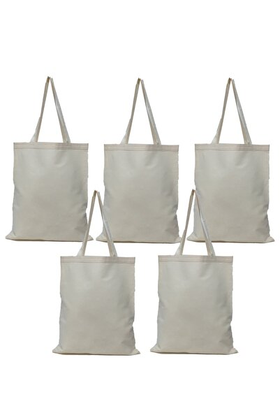 serkan çanta Baskısız Bez Çanta 35x40 Kulplu Naturel 5 Adet