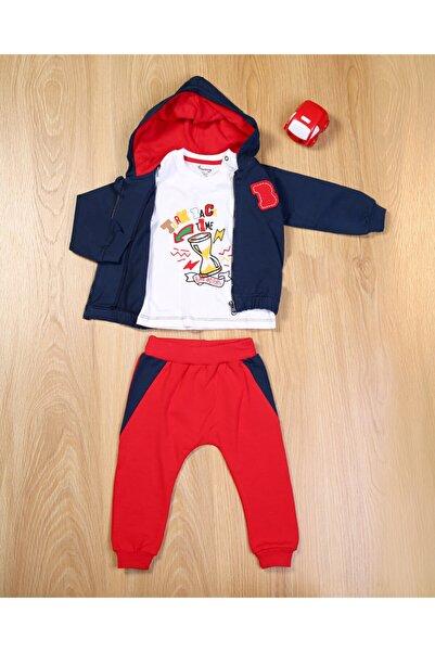 Blueberry Erkek Bebek Lacivert Fermuarlı Şapkalı Montlu 3'Lü Takım