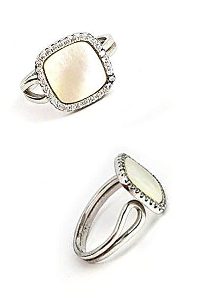 OSESHOP Kadın Ekru Sedef Zirkon Taşlı Gümüş Ayarlanabilir Yüzük
