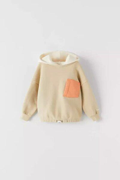 KOZZA Kız Çocuk Bej Cepli Kontrast Sweatshirt