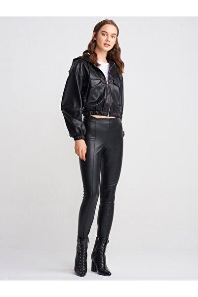 Dilvin Kadın Siyah  Fermuarlı Tayt Pantolon